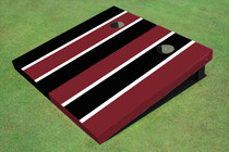 Maroon And Black Alternating Long Stripe Custom Cornhole Board