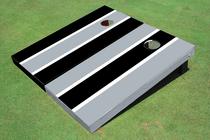 Black And Gray Alternating Long Stripe Custom Cornhole Board