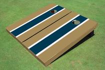 Navy And Dark Gold Matching Long Stripe Custom Cornhole Board