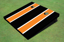 Orange And Black Matching Long Stripe Custom Cornhole Board