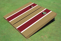 Maroon And Dark Gold Matching Long Stripe Custom Cornhole Board