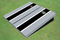 Black And Gray Matching Long Stripe Custom Cornhole Board