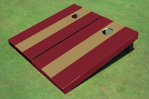 Dark Gold And Maroon Matching Long Stripe No Stripe Custom Cornhole Board