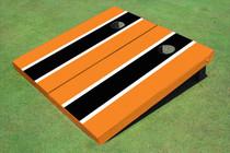 Black And Orange Matching Long Stripe Custom Cornhole Board