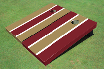 Dark Gold And Maroon Alternating Long Stripe Custom Cornhole Board
