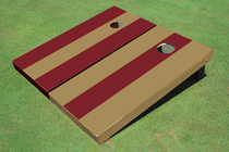Dark Gold And Maroon Alternating Long Stripe No Stripe Custom Cornhole Board