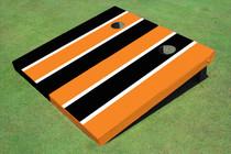 Black And Orange Alternating Long Stripe Custom Cornhole Board
