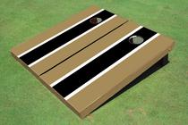 Black And Gold Matching Long Stripe Custom Cornhole Board