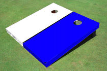 White And Blue Solid Custom Cornhole Board