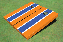 Blue And Orange Matching Long Stripe Cornhole Set