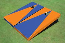 Blue And Orange Alternating No Stripe Triangle Cornhole Set