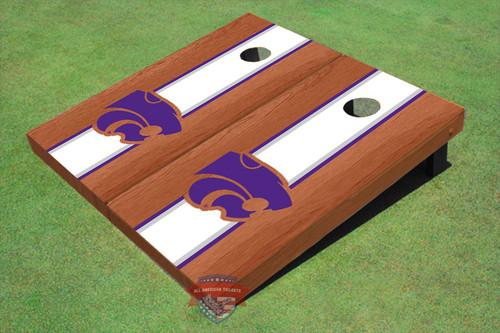 Kansas State University Wildcats White Rosewood Matching Long Strip Cornhole Boards