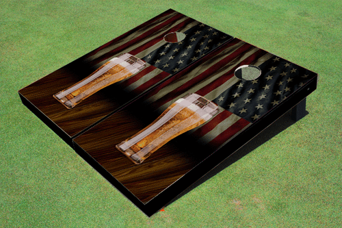Custom American Flag With Pilsner Cornhole Board set