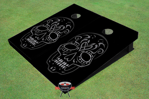 Black Tiki Skull Custom Cornhole Board