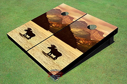 Moose In Water #3 Custom Cornhole Board