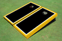 Painted Black with White And Yellow Borders Themed Cornhole Boards
