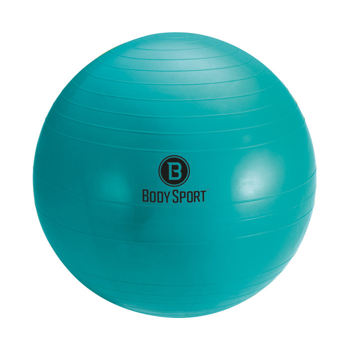 "BODY SPORT 85 CM (BODY HEIGHT 6'9"" OR TALLER) FITNESS BALL (EXERCISE BALL), TEAL, INCLUDES PUMP, INSTRUCTIONS, ILLUSTRATED EXERCISE GUIDE, LATEX FREE"
