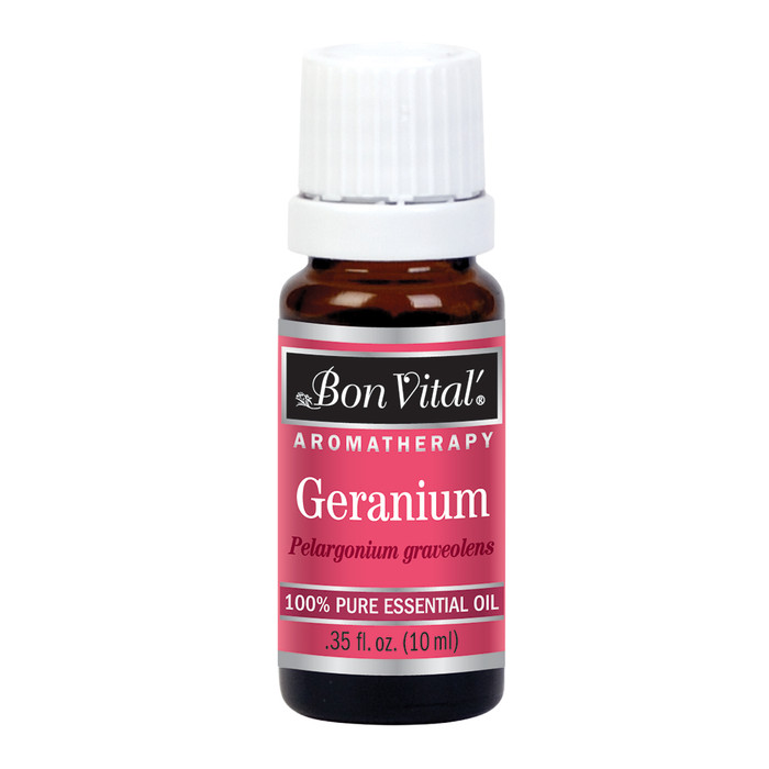BON VITAL GERANIUM ESSENTIAL OIL, 10 ML/.35 FL OZ. BOTTLE