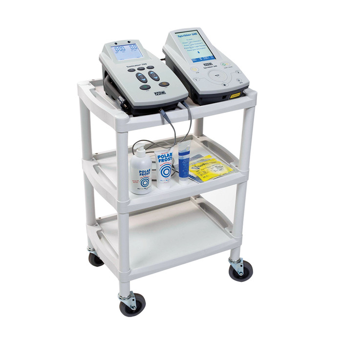 PLASTIC UTILITY CART WITH THREE SHELVES, CASTERS AND RECESSED HANDLES