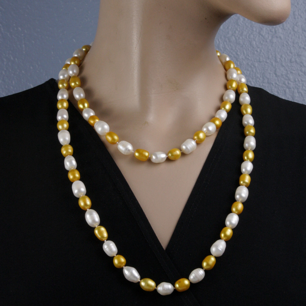 Mannequin Short View - Gold and White Cultured Pearl Necklace (1113)
