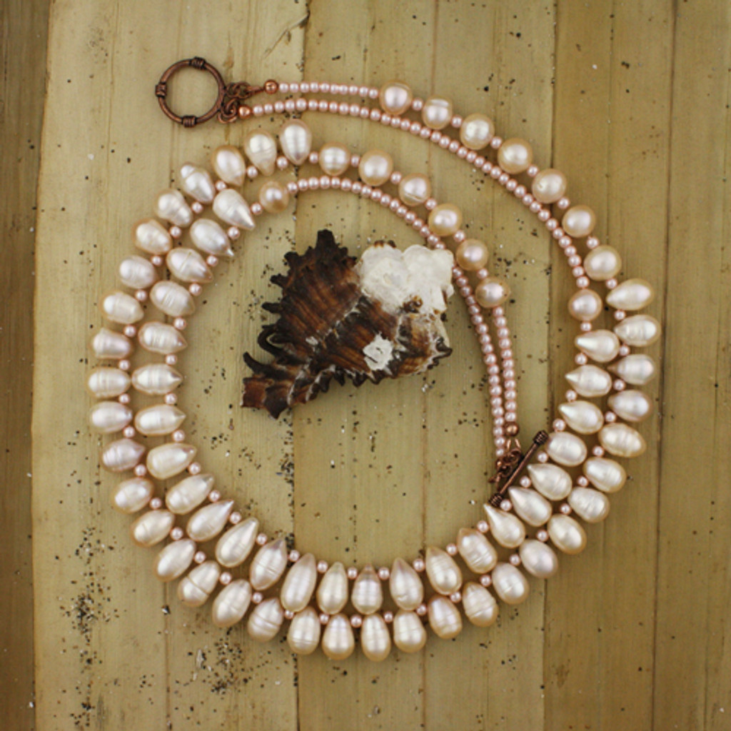 Bamboo View - Peachy Cultured Pearl Drop Double Necklace (1231)