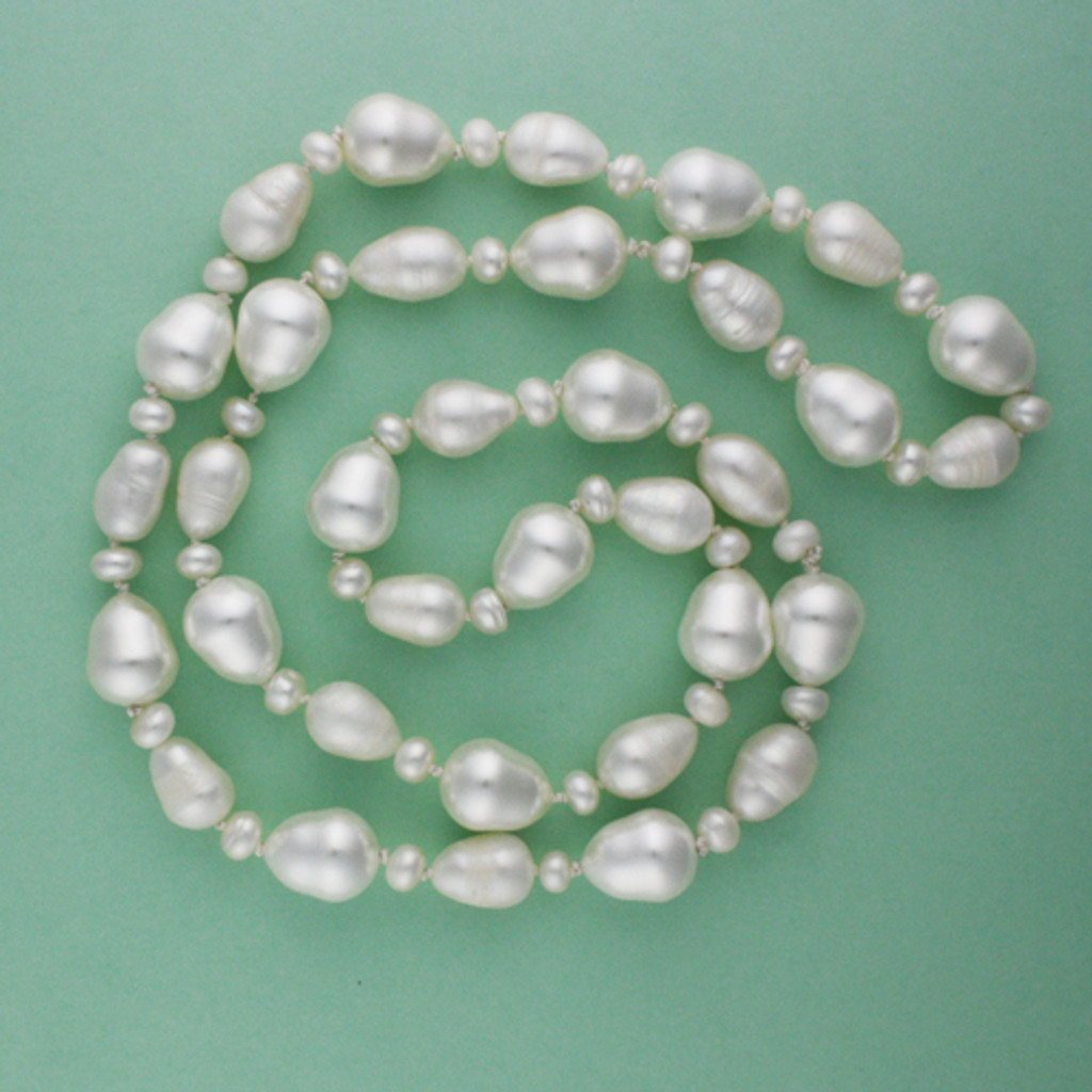 Green View - White Cultured Pearl Drop Necklace (1234)