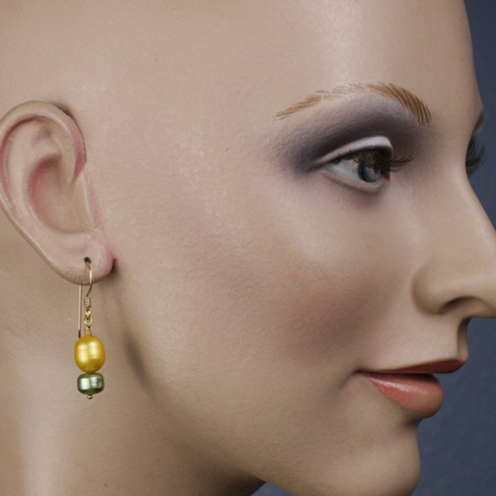 Mannequin View - Gold and Green Freshwater Pearl on Gold Earwires (1244)