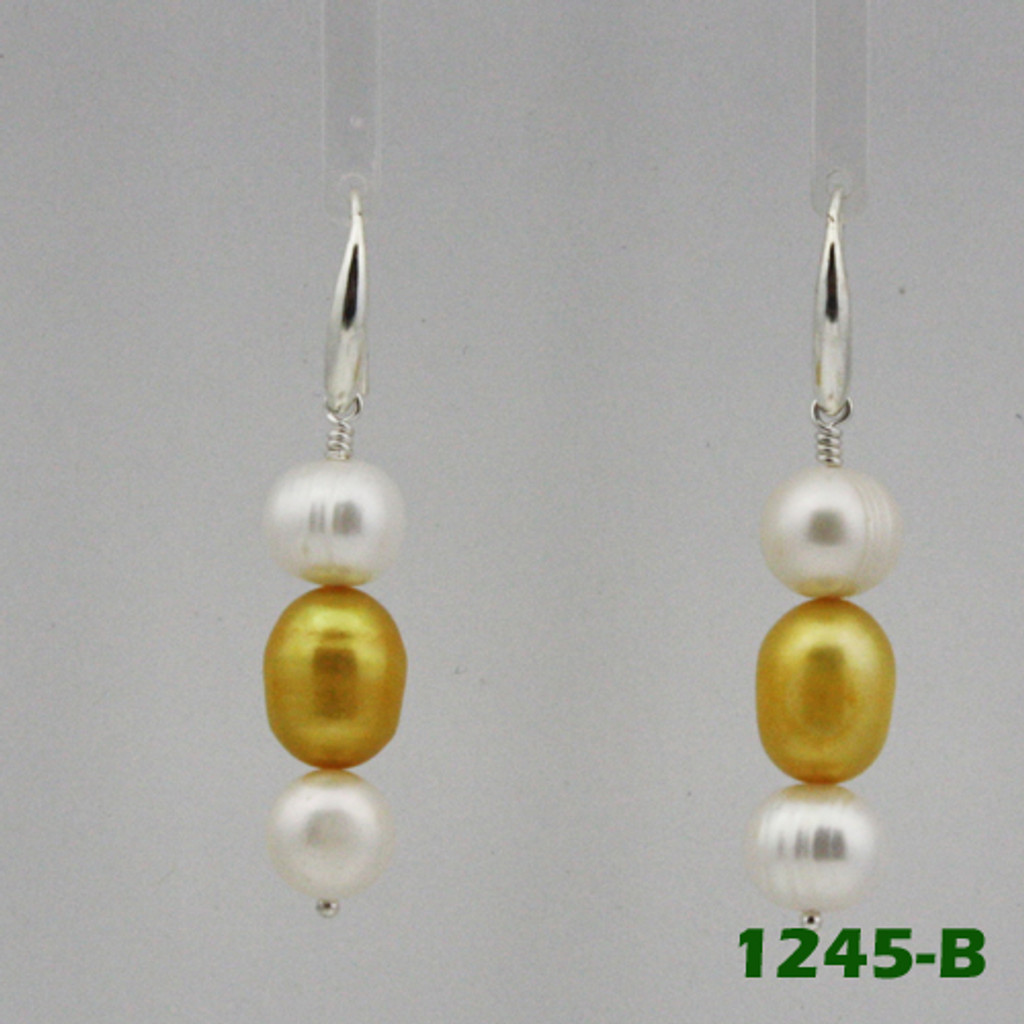 Center View - White Freshwater Pearl and Gold Cultured Pearl on Silver Earwires (1245)