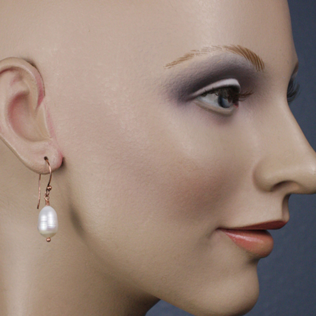 Mannequin View - White Freshwater Pearl on Copper Earwires (1258)