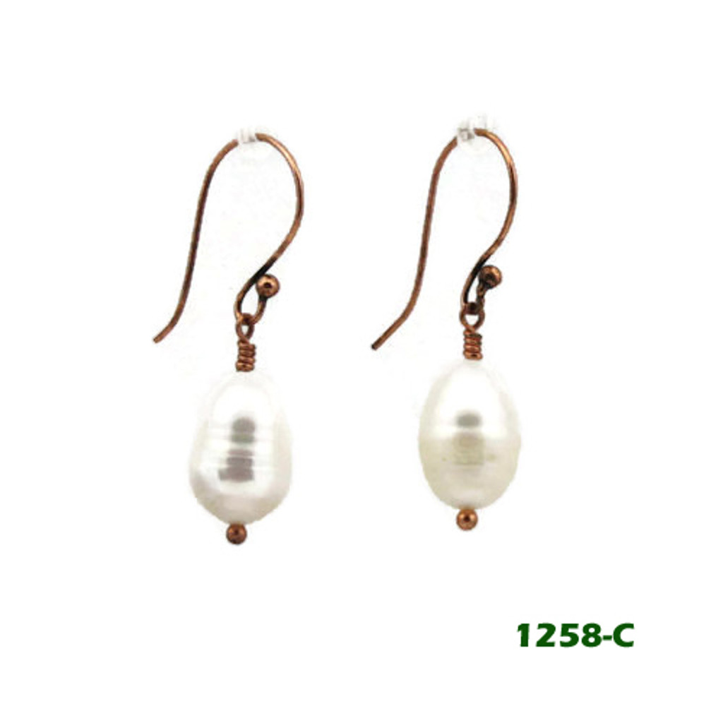 Right View - White Freshwater Pearl on Copper Earwires (1258)