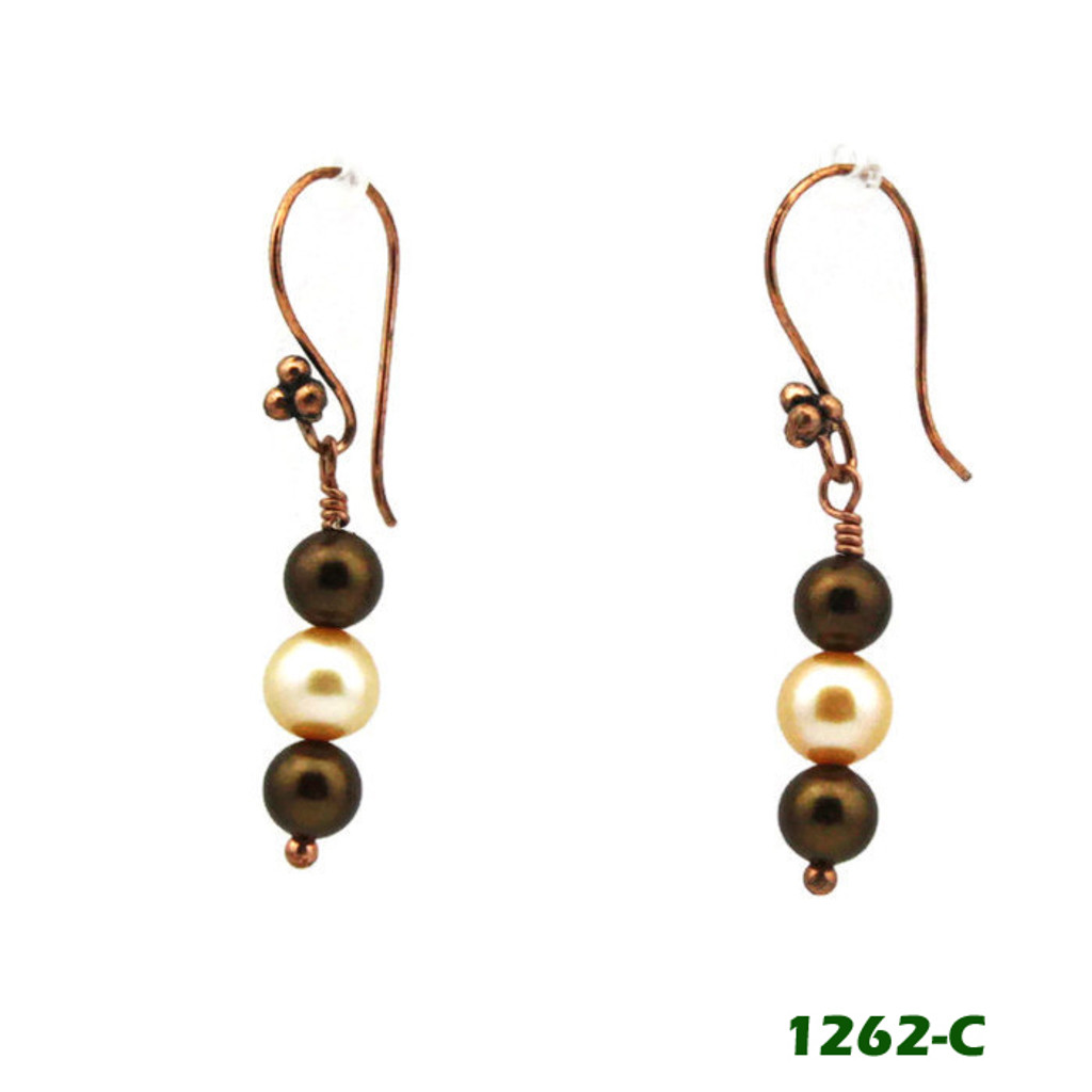 Left View - Brown Imitation Pearl and White Cultured Pearl on Copper Earwires (1262)