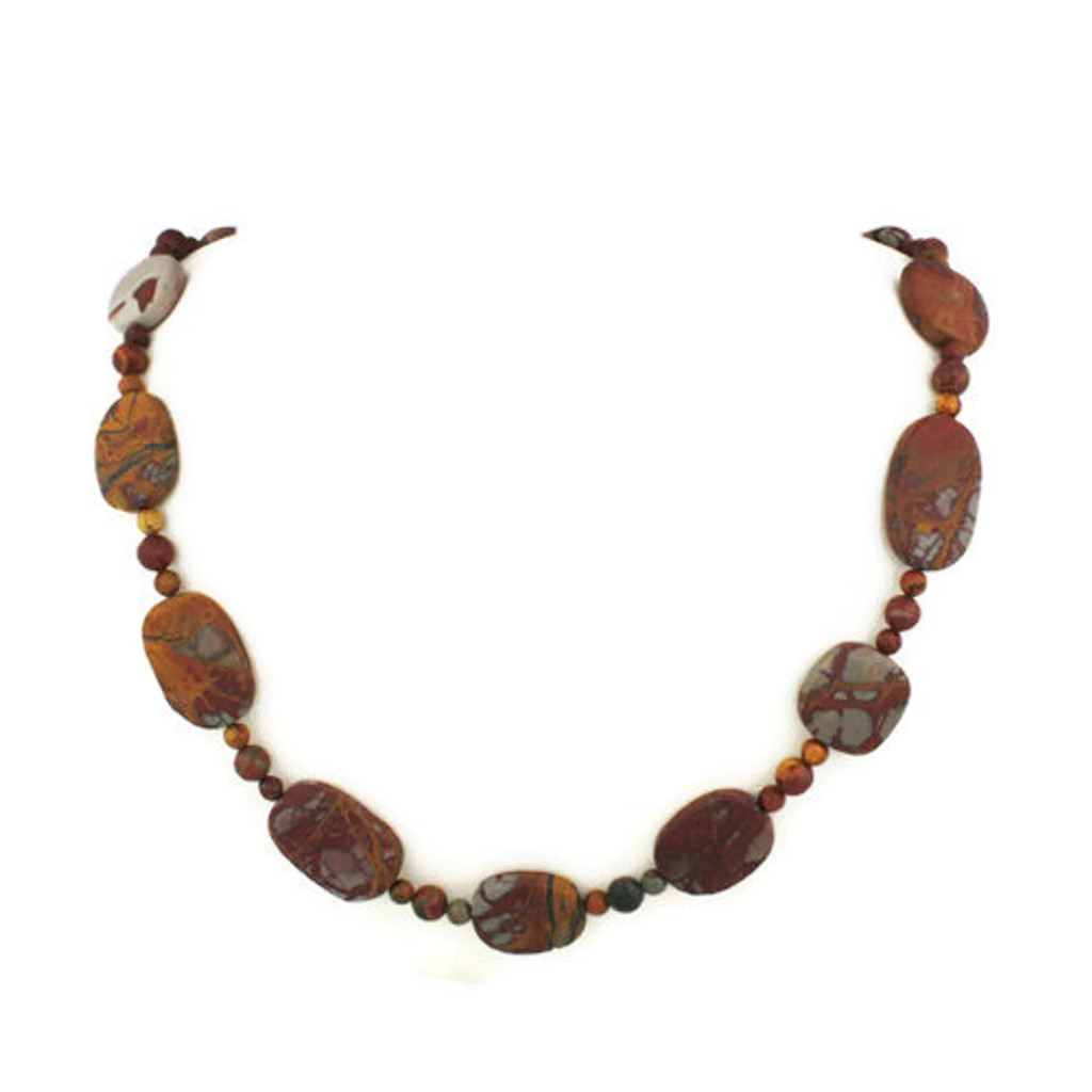 Front View - Matte Red Creek Jasper Necklace (24 inches) (1317)