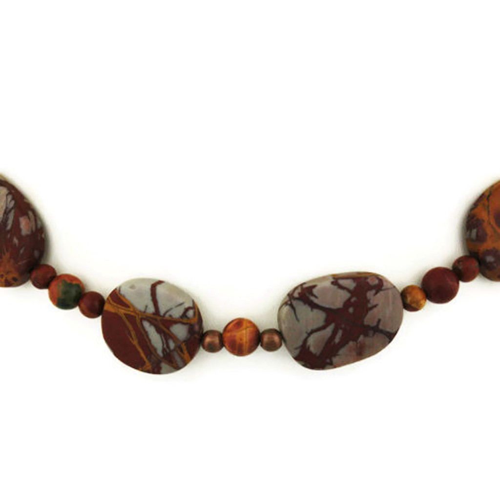 Front Detail view - Matte Red Creek Jasper Necklace (24 inches) (1317)