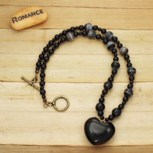 Bamboo View - Black Agate Puffed Heart with Banded Onyx and Black Agate Necklace (0234)