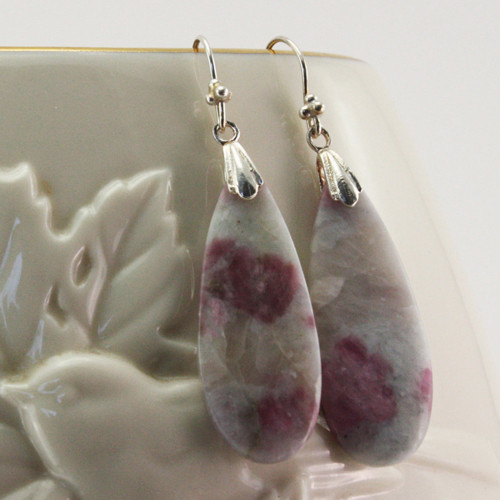 Vase View - Earrings - Lepidolite and Red Tourmaline Drops on Sterling Silver Ear-wires (1044)