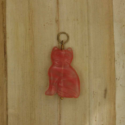 Pendant - Cherry Quartz Cat Pendant (0194) front side