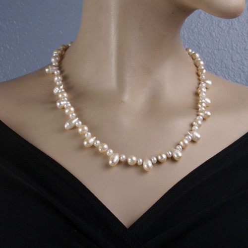 Mannequin View - Peachy Cultured Pearl Drop and White Cultured Pearl Necklace (1230)