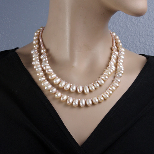 Mannequin View - Peachy Cultured Pearl Drop Double Necklace (1231)