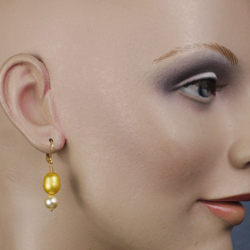 Mannequin View - Gold Freshwater Pearl and Cream Imitation Shell Pearl on Gold Earwires (1239)