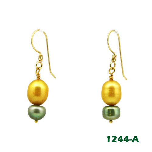 Left View Gold and Green Freshwater Pearl on Gold Earwires (1244)