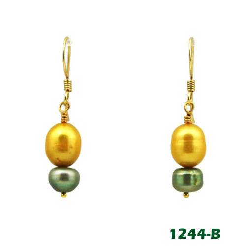 Center View - Gold and Green Freshwater Pearl on Gold Earwires (1244)