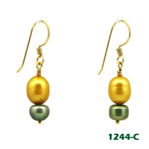 Right View - Gold and Green Freshwater Pearl on Gold Earwires (1244)