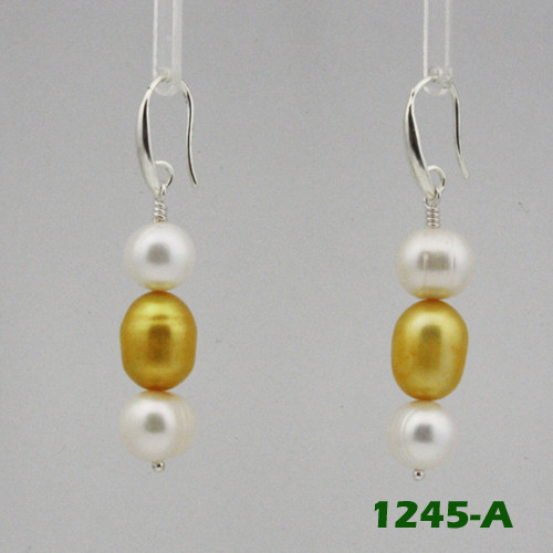Left View - White Freshwater Pearl and Gold Cultured Pearl on Silver Earwires (1245)