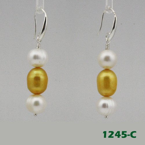 Right View - White Freshwater Pearl and Gold Cultured Pearl on Silver Earwires (1245)