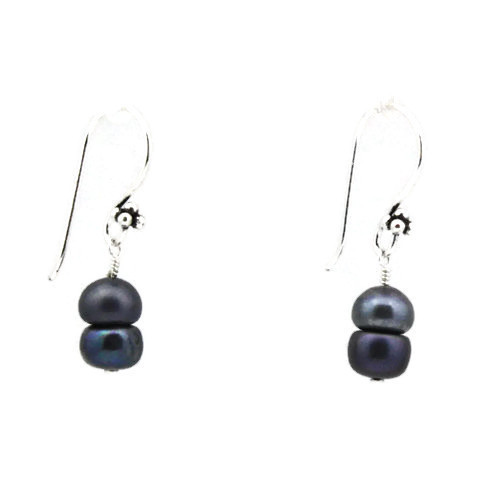 Left View -Blue Freshwater Pearl Earrings (1252)
