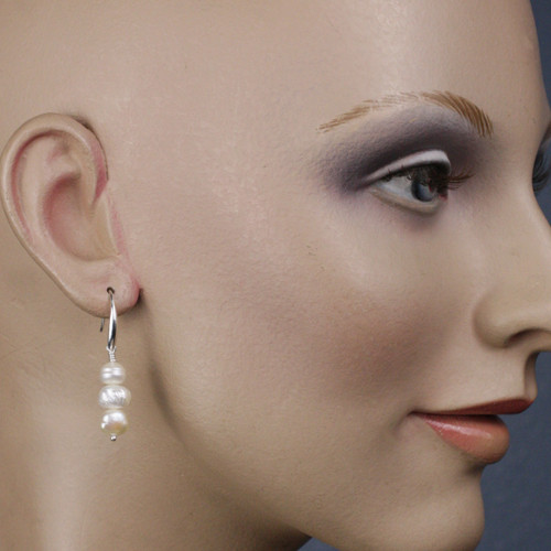 Mannequin View -White Cultured Pearl on Silver Earwires (1259)