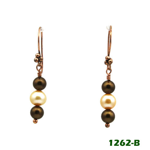 Center View - Brown Imitation Pearl and White Cultured Pearl on Copper Earwires (1262)