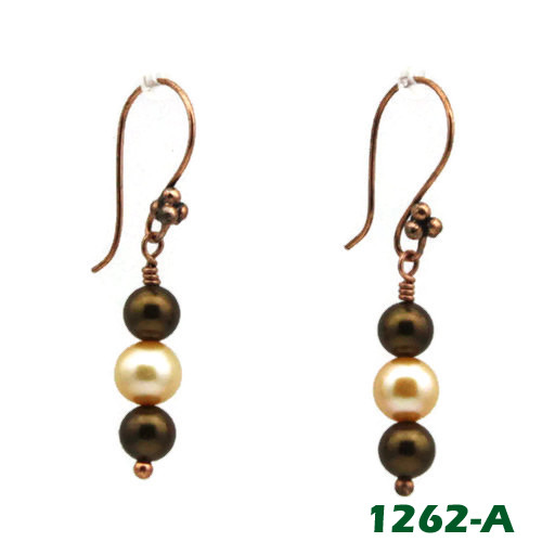 Earrings - Brown Imitation Pearl and White Cultured Pearl on Copper Earwires