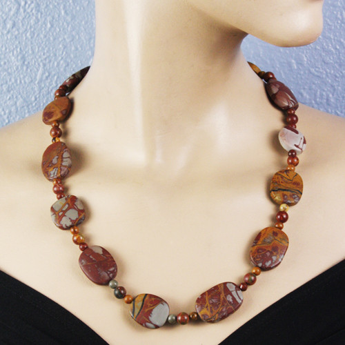 Mannequin view - Matte Red Creek Jasper Necklace (1317)