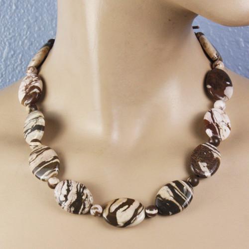 Mannequin view - Brazilian Zebra Jasper on Antique Copper Necklace (1318)